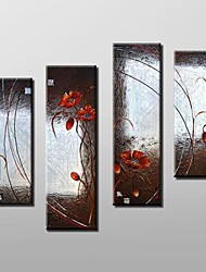 Hand Painted Abstract Floral  Oil Painting with Stretched Frame Set of 4