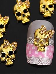 10pcs do punk crânio dourado com 3d strass bow tie arte decoração de unhas
