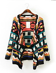 Women's Funny V Collar Geometic Pattern Stitching Long Sleeve Cardigans