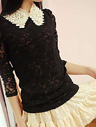 Women's Lace Beige/Black Blouse , Casual/Lace/Work Shirt Collar Long Sleeve Beaded/Lace