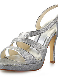 Women's Spring / Summer / Fall / Winter Platform / Slingback Satin Party & Evening Stiletto HeelBlack / White / Silver / Champagne /