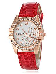 Женские Модные часы Повседневные часы Японский кварц Имитация Алмазный Кварцевый PU Группа Цветы Черный Белый Синий Красный Коричневый