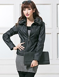Women's Faux Fur Collar Casual Long Sleeve Leather