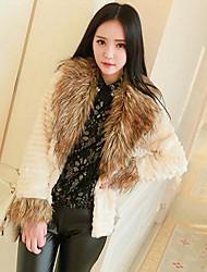 Women's Striped Raccoon Fur Collar Rabbit Fur Coat