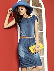 Women's Blue Denim Dress , Casual/Plus Sizes Short Sleeve