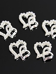 10pcs perle conception à double coeur alliage ongle 3d décoration d'art