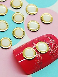 100PCS White Round Design Studs with Gold Line Nail Art Decoration