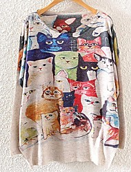 Women's  Batwing Long Sleeve Cats Print Pullover Sweater