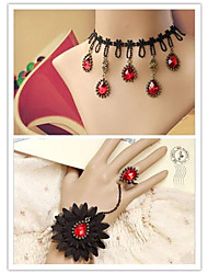 Pure Queen with Red Artificial Stone Gothic Lolita Accessories Set(Bracelet/Necklace)