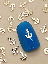 200PCS Boat Anchor Golden Metal Slice Nail Art Decoration