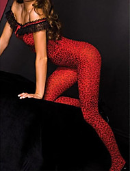 Women's  Fiery Red Leopard Body Stocking