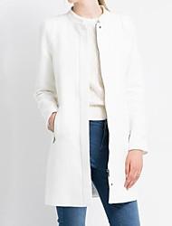Women's Thick White Zipper Long Coat Outerwear