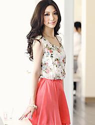 mode bali robe de swing de couleur de contraste imprimé floral de sans manches