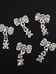 10pcs Silver Rhinestone Bowtie with Baby Bear Dangle 3D Alloy Nail Art Decoration