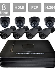 8 Channel HDMI CCTV DVR 8 Outdoor / Indoor Vision Security Camera System Kit F276+632CAB08V