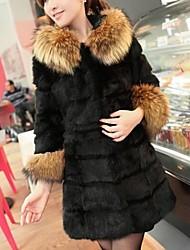 Women's Fashionable Faux Raccoon Fur Long Thicken Coat Outwear