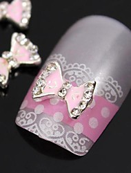 10pcs  Cute Pink Bow Tie Rhinestone Alloy Accessories Finger Tips Nail Art Decoration