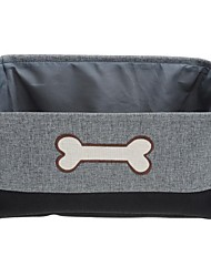 Rectangle Foldable Shape Bone Feature Polyester Fabrics Made Store Content Basket - Dark Grey