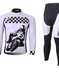 XINTOWN Men's Car Logo Quick Dry Moisture Absorption Long Sleeve Cycling Suit—Black+White