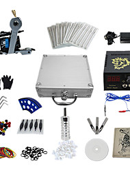 1 Gun Complete No Ink Tattoo Kit with Wrench Tattoo Machine and Lion Pattern LCD Power Supply