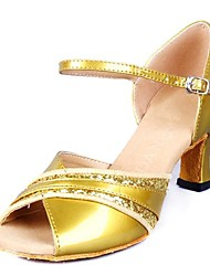 Non Customizable Women's Dance Shoes Latin Leatherette Low Heel Yellow/White