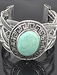 Toonykelly® Vintage Women's Antique Silver Oval Turquoise Bangle(Green)(1 Pc)