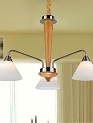 pingente de carvalho lâmpada, três luzes, carvalho e vidro, 220 ~ 240V (hy6013)