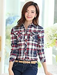 bs®women Casual / print / Übergrößen Mikro-elastische Langarm regelmäßigen Shirt (Baumwolle)