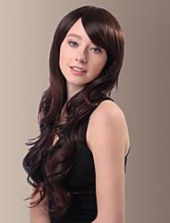 lado longo cabelo ondulado fibra sintética bate perucas de cabelo das mulheres