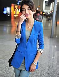 versión coreana de las mujeres de la chaqueta sin cuello de color caramelo de manga larga