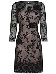elegante vestido de renda meia manga das mulheres