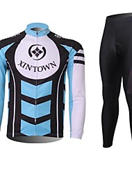 XINTOWN Men's Contracted Quick Dry Moisture Absorption Long Sleeve Cycling Suit—Blue+White