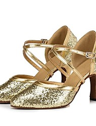 Non Customizable Women's Dance Shoes Modern Paillette Chunky Heel Silver/Gold