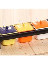 caixa colorida tempero plástico moda, 18x9x7cm