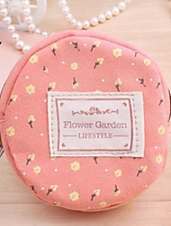 Women's Flower Printing Round Shape Zipper Coin Purse Key Case Bag