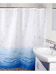 azul gota de agua de ducha de poliéster cortina