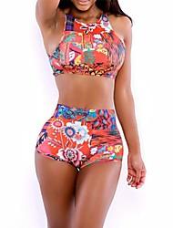 Women's  Fashion Sexy Flowers Print Bodycon Swimwear