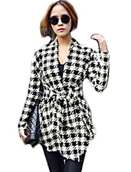Womens Ladies Long Sleeve Houndstooth Lapel Tunic Casual Cardigan Jacket Tops
