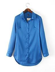 Mulheres Camisa Formal Simples Primavera / Outono / Inverno,Sólido Azul / Vermelho Manga Longa Média