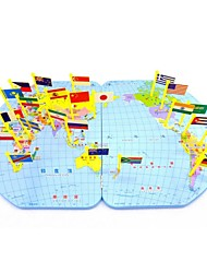 Wooden Geography World Map Flags Inserted Educational Toys for Children