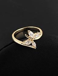 Women's Fashion Butterfly Design 18K Gold Zircon Ring