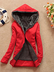 Women's Casual Fleece Lining Zipper Thicken Hoodie Sweatshirt Coat