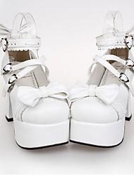 Zapatos Punk Princesa Tacón alto Zapatos Lazo 9.5 CM Blanco Para Mujer Cuero Sintético/Cuero de Poliuretano