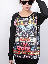 Women's Hip-Hop Style Print Spring  Thick Blouse T-Shirts