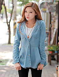Women's Blue Denim Top , Casual