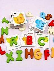 brinquedos educativos de madeira Inglês carta cartão novidade