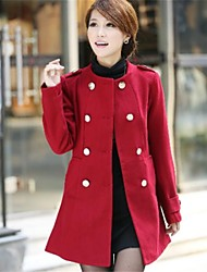 Women's Fashion Double Breasted Slim Long Coat