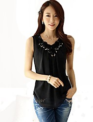 Chiffon Sleeveless Folds And Tinsels  Decoration Shirt