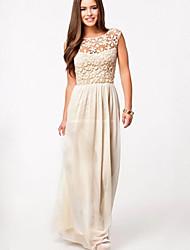 BALI Fashion Chiffon Lace Cut Out Ankle Length Dress