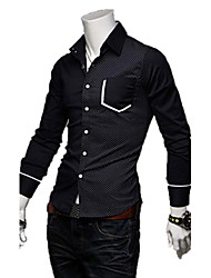 REVERIE UOMO Korean Style Leisure Silk Cotton Long Sleeve Man's Shirts